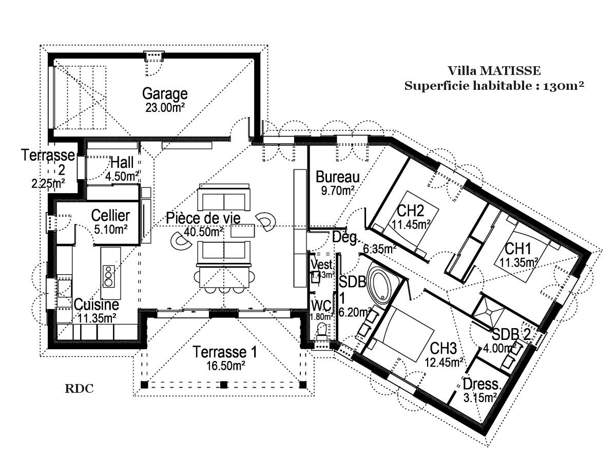 plan maison Matisse des Demeures du Terroir