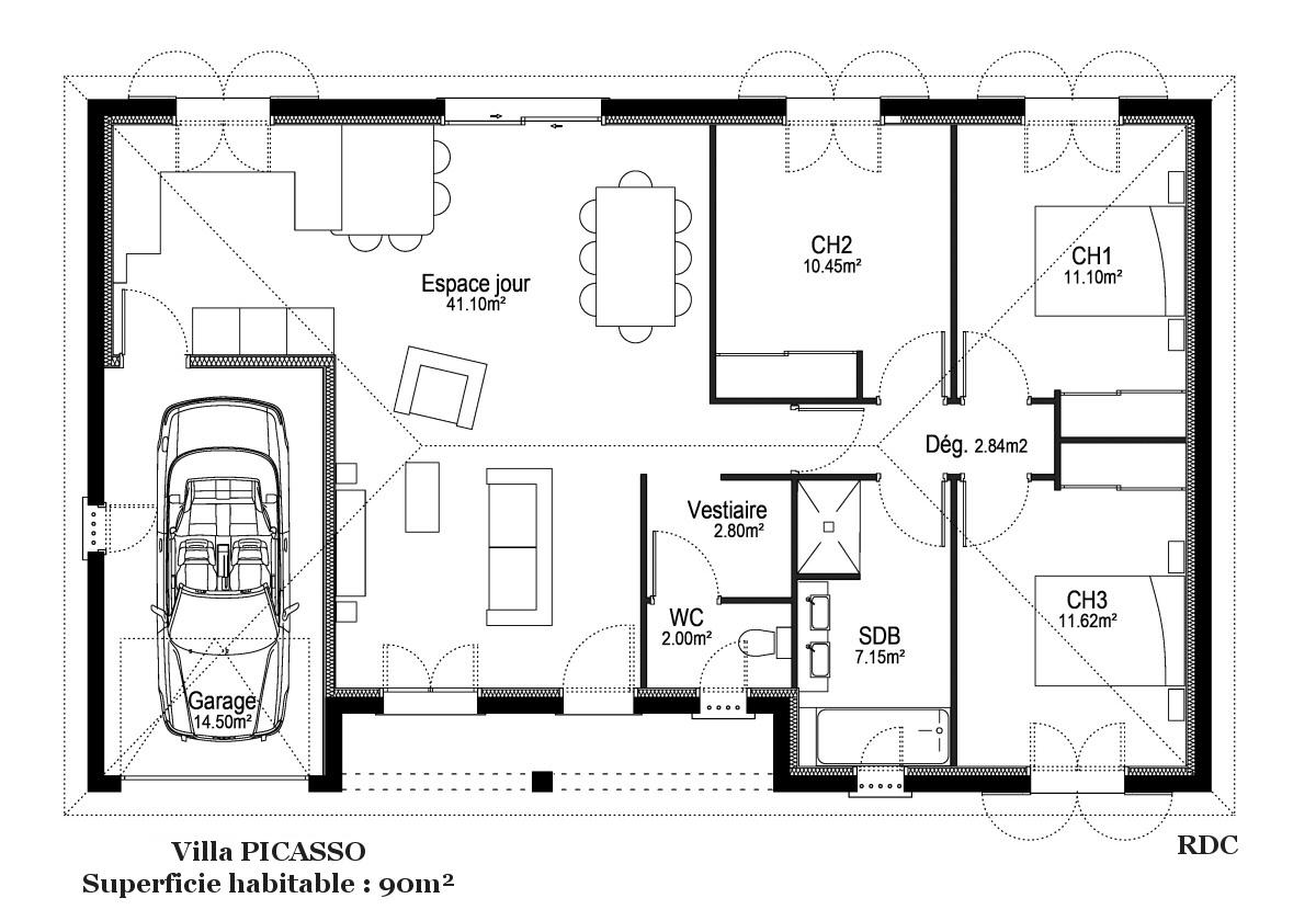 plan maison Picasso Constructeur Demeures du Terroir
